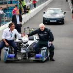 Mayor of London Boris Johnson casually chats to Formula E CEO Alejandro Agag - Formula E Visa London ePrix Battersea Park