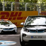 BMW i3 leads the BMW i8 around the Battersea Park circuit - Formula E Visa London ePrix Battersea Park