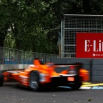 The orange glare from the new livery of the Andretti team - Formula E Visa London ePrix Battersea Park