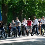 Formula E press gathering on electric bikes at Battersea Park