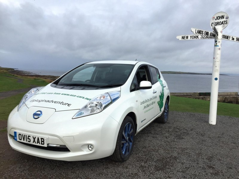 Plug in adventurers complete John O'Groats to Land's End road trip