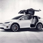 Tesla Model X front three quarter with doors open