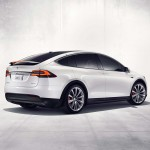 Tesla Model X rear three quarter with active spoiler