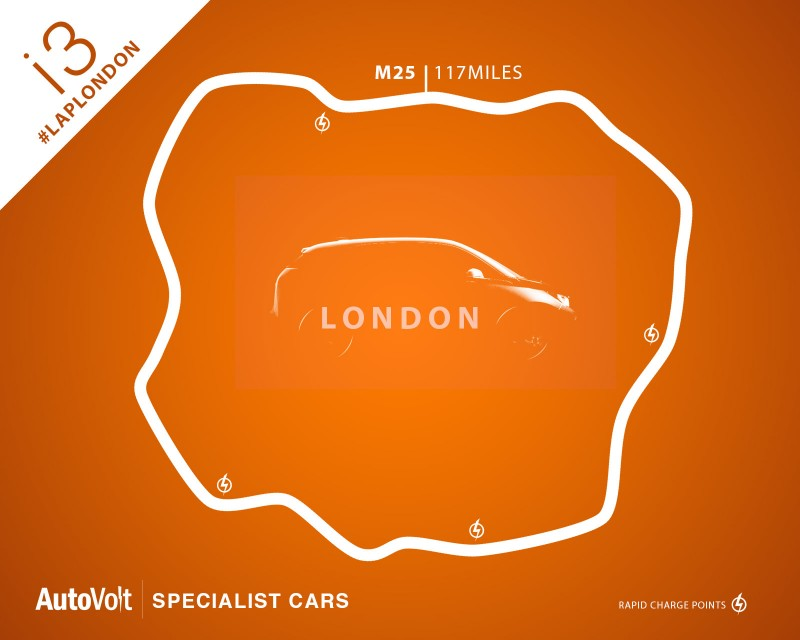 M25. 117 Miles. BMW i3. Electric power. #LapLondon