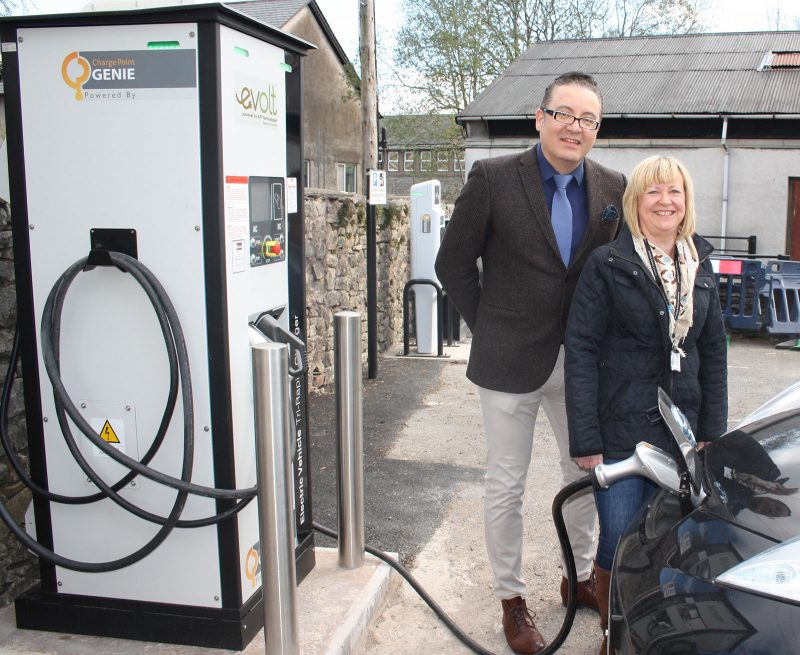 John Osorio of Evolt and Cllr Janet Willis, Cumbria County Council Cabinet member for Environment, at the charging site in Kendal