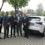 L to R - Mariano Autuori, Head of Lexus Italy, Franco Spotorno, Lexus Milan retailer, Aldo Pirronello, the customer, Alain Uyttenhoven, Head of Lexus Europe, Andrea Carlucci, CEO of TMI
