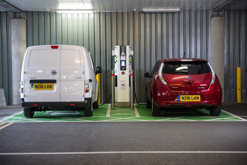 Nissan e-NV200 and Leaf at IKEA Electric Highway charge point