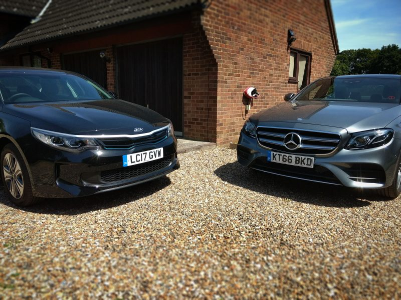 Kia Optima PHEV and Mercedes E 350 e